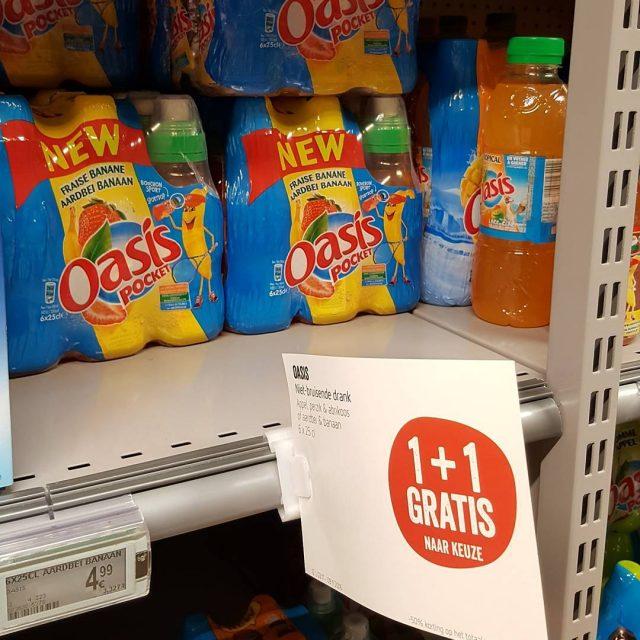 Gezien in Delhaize 11 gratis Oasis drank zonder bruis afslaghellip
