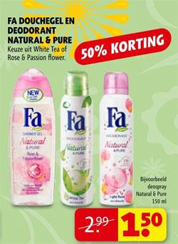 Kruidvat Fa Douchegel En Deodorant Natural Pure 50 Korting